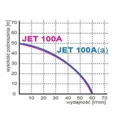 Wykres wydajności pompy hydroforowej JET 100A 230V Omnigena z osprzętem